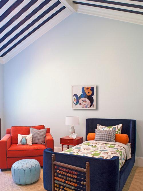 Trendy Gender Neutral Carpeted Kidsu0027 Room Photo In Los Angeles With Blue  Walls