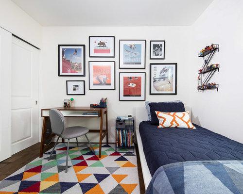 Transitional Boy Dark Wood Floor Kidsu0027 Bedroom Photo In Los Angeles With  White Walls