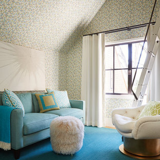 Example of a mid-sized transitional girl carpeted and blue floor playroom design in San Francisco with multicolored walls