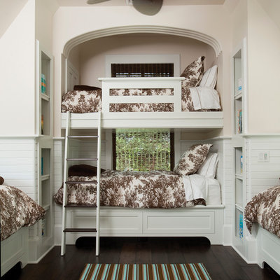 Inspiration for a timeless dark wood floor kids' bedroom remodel in Other with beige walls