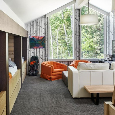 Beach style gender-neutral carpeted and gray floor kids' bedroom photo in Denver with gray walls