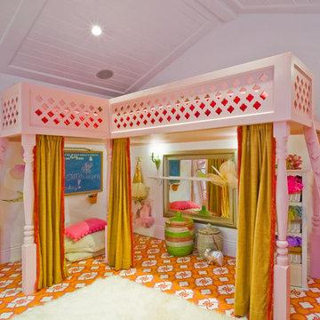 Menlo Park Fantasy Girls' Playroom with Custom Loft Bed