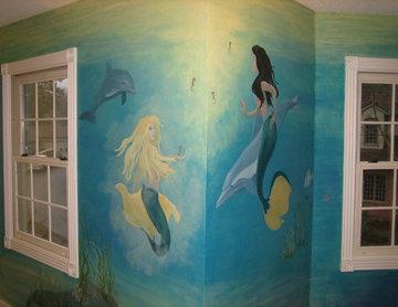 Mermaid theme painted in girls bedroom