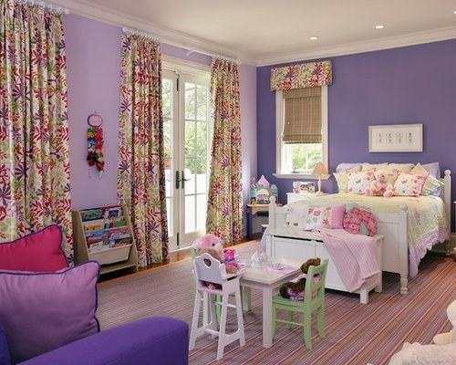 Traditional Kids Room Idea In Miami With Purple Walls