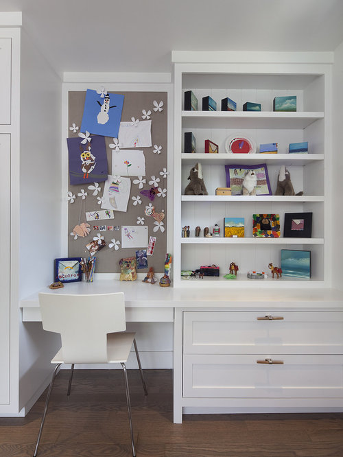 Kids built in desk houzz Built in desk