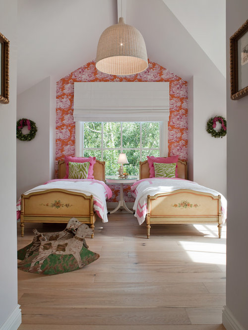 Inspiration for a farmhouse girl light wood floor kids  bedroom remodel in  San Francisco with. Wallpaper Accent Wall   Houzz