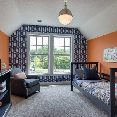 Inspiration for a large contemporary boy carpeted kids' room remodel in Minneapolis with multicolored walls