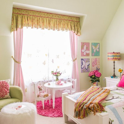 Large elegant girl carpeted kids' room photo in Dallas with white walls