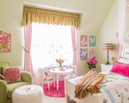 Large elegant girl carpeted kids  bedroom photo in Dallas with white walls. Pink Green Bedroom   Houzz