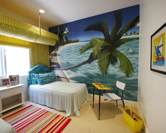 Beach theme teen bedroom houzz - Beach themed bedroom for teenager ...