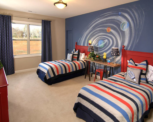 Mid sized traditional boy carpeted and beige floor kids  bedroom idea in  Charlotte with. Boys Solar System Bedrooms   Houzz
