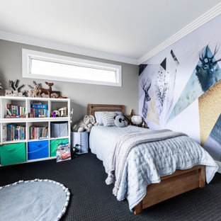 Inspiration for a contemporary kids' bedroom for kids 4-10 years old and boys in Melbourne with grey walls, carpet and grey floor.