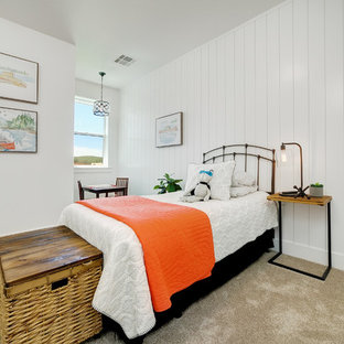 Kids' room - mid-sized country gender-neutral carpeted and beige floor kids' room idea in Boise with white walls