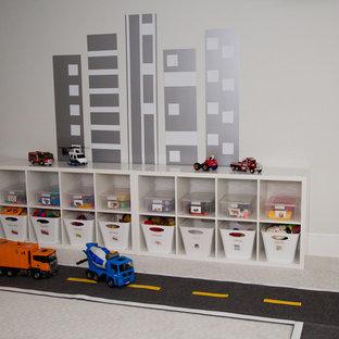 Свежая идея для дизайна: нейтральная детская с игровой среднего размера в стиле модернизм с белыми стенами и ковровым покрытием для ребенка от 4 до 10 лет - отличное фото интерьера
