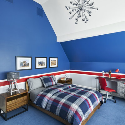 Inspiration for a mid-sized transitional boy carpeted and blue floor kids' room remodel in New York with multicolored walls