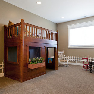 Design ideas for a classic gender neutral toddler's room in Salt Lake City with beige walls and carpet.