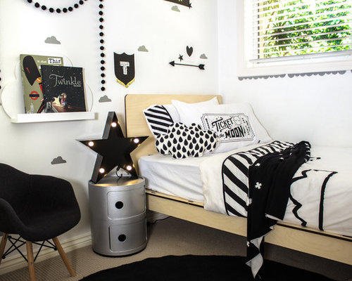 Example Of A Small Eclectic Boy Carpeted Kidsu0027 Bedroom Design In Sydney  With White Walls