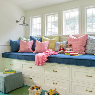 Inspiration for a farmhouse children's room in Los Angeles with white walls, painted wood flooring and green floors.