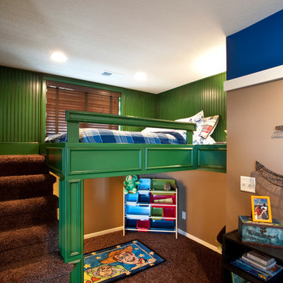 Example of a classic boy kids' room design in Kansas City with multicolored walls