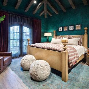 Kids' bedroom - huge mediterranean gender-neutral beige floor and medium tone wood floor kids' bedroom idea in Houston with green walls
