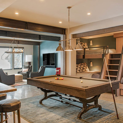 Inspiration for a large rustic gender-neutral concrete floor and gray floor teen room remodel in Other with beige walls