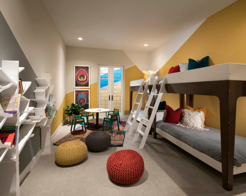 Example Of A Small Trendy Gender Neutral Carpeted And Gray Floor Kids Room Design