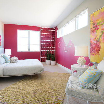 Large trendy girl carpeted and beige floor kids' room photo in Phoenix with pink walls