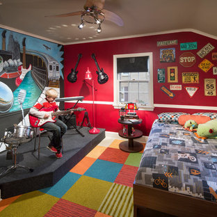 Eclectic boy carpeted kids' room photo in Chicago with multicolored walls