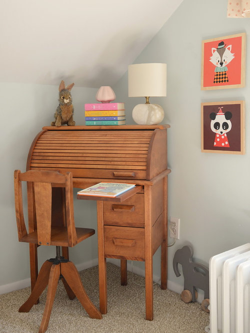 kidsu0027 room idea in new york with gray walls and carpet - Rolltop Desk