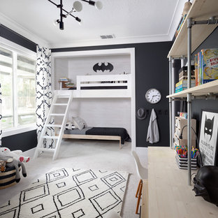 Неиссякаемый источник вдохновения для домашнего уюта: детская в стиле современная классика с спальным местом, черными стенами, ковровым покрытием и белым полом для ребенка от 4 до 10 лет, мальчика