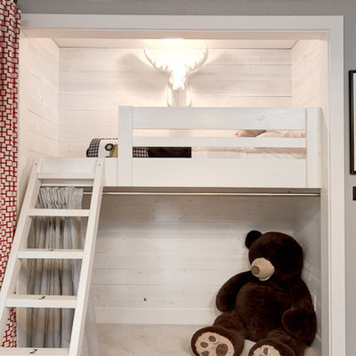 Inspiration for a small eclectic boy carpeted kids' room remodel in Sacramento with gray walls