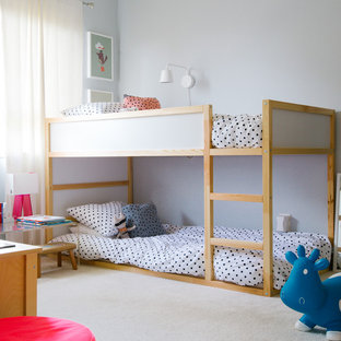 Kids' room - mid-sized transitional gender-neutral carpeted and beige floor kids' room idea in San Francisco with gray walls