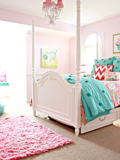 Traditional Girl Carpeted Kidsu0027 Room Idea In Tampa With Pink Walls Part 96