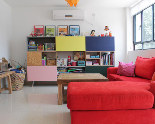 example of an eclectic gender neutral kids room design in tel aviv with white - Contemporary Color Scheme