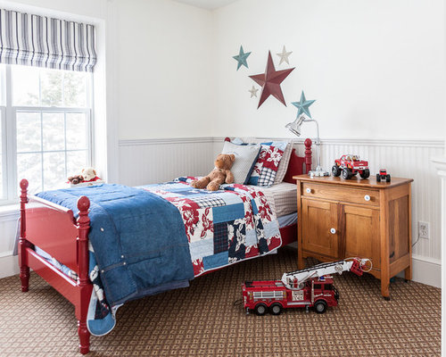 Inspiration for a transitional brown floor and carpeted kids  bedroom  remodel in Other with white. Blue And Red Bedding   Houzz