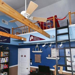 Idéer för mellanstora eklektiska barnrum kombinerat med sovrum, med blå väggar