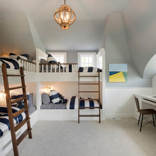 Kids' room - mid-sized coastal gender-neutral carpeted and gray floor kids' room idea in Minneapolis with gray walls