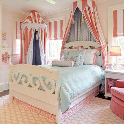 Kids' room - traditional girl dark wood floor kids' room idea in Richmond with pink walls