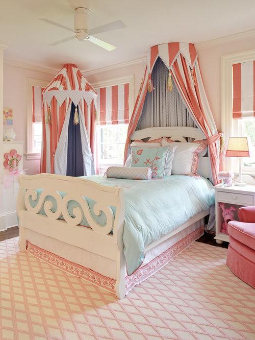 Traditional girl dark wood floor kids  bedroom idea in Richmond with pink  walls. Hanging Tent   Houzz