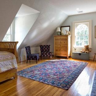 Ejemplo de dormitorio infantil de 4 a 10 años, clásico, con paredes grises y suelo de madera en tonos medios