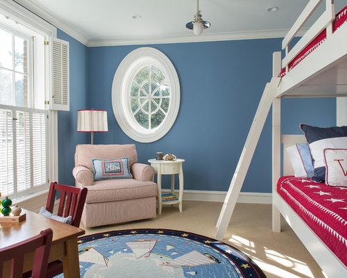 Elegant Gender Neutral Carpeted And Beige Floor Kidsu0027 Bedroom Photo In New  York With