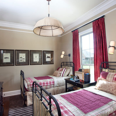 Example of an eclectic girl dark wood floor kids' room design in New Orleans with brown walls