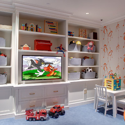 Playroom - transitional gender-neutral carpeted playroom idea in New York with multicolored walls