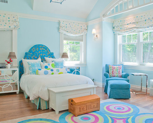 Transitional kids  room photo in Boston with blue walls. Blue Girl Room   Houzz