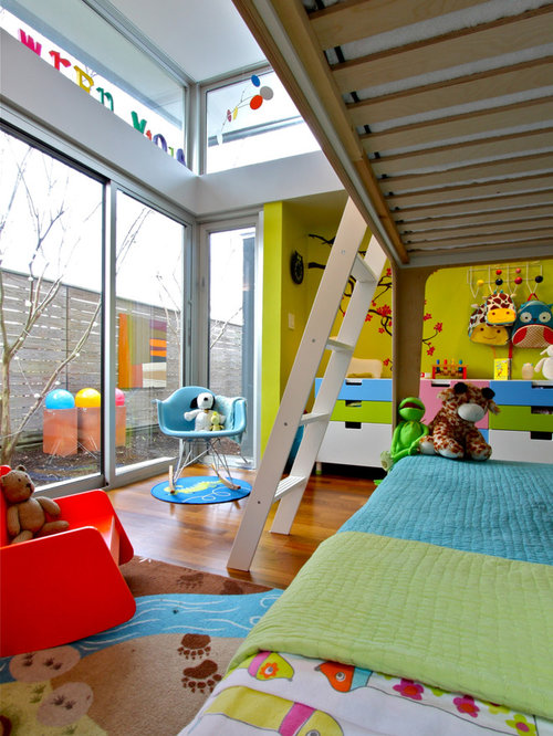 Inspiration For A Contemporary Gender Neutral Medium Tone Wood Floor Kidsu0027  Room Remodel In