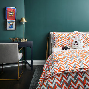 Example of a transitional boy dark wood floor kids' room design in Chicago with green walls