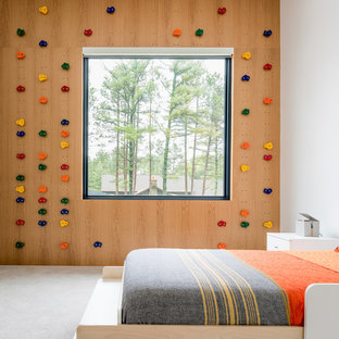 This is an example of a modern gender-neutral kids' bedroom in Minneapolis with carpet and grey floor.