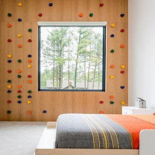 Foto de dormitorio infantil minimalista con moqueta y suelo gris