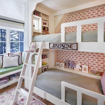 Kids' room - rustic girl dark wood floor kids' room idea in Minneapolis with multicolored walls