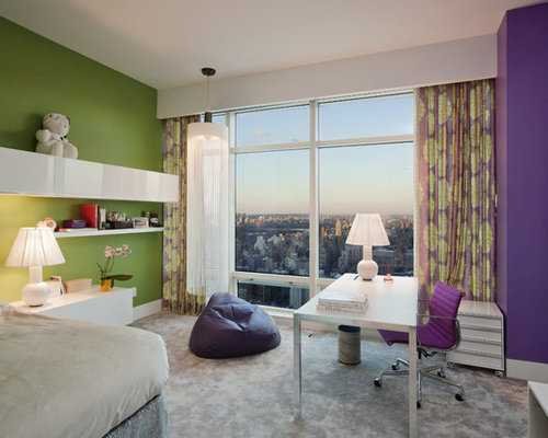 Contemporary kids' room idea in New York with multicolored walls